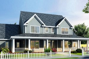 Country Exterior - Front Elevation Plan #20-2036