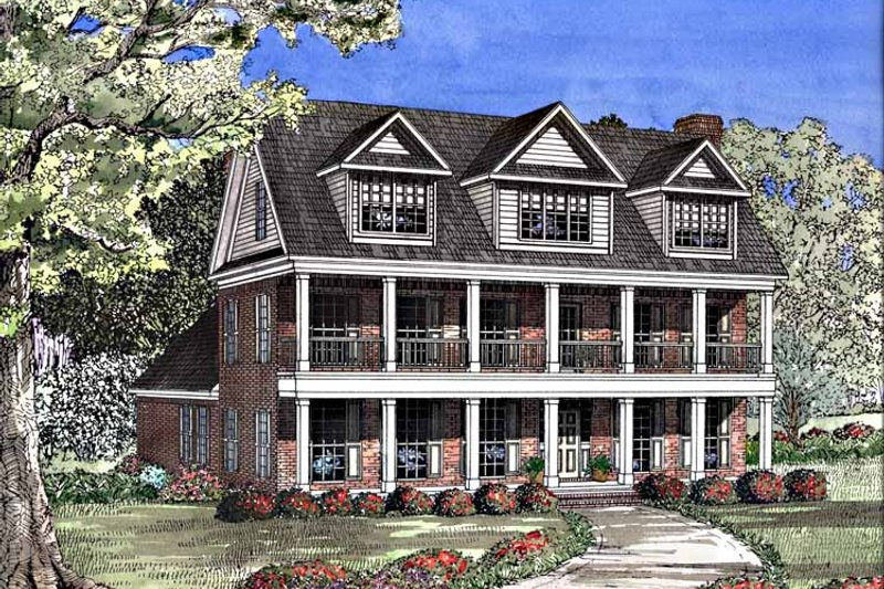 Classical Exterior - Front Elevation Plan #17-3135