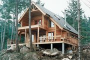 Cabin Style House Plan - 2 Beds 2 Baths 1154 Sq/Ft Plan #118-102 Exterior - Front Elevation