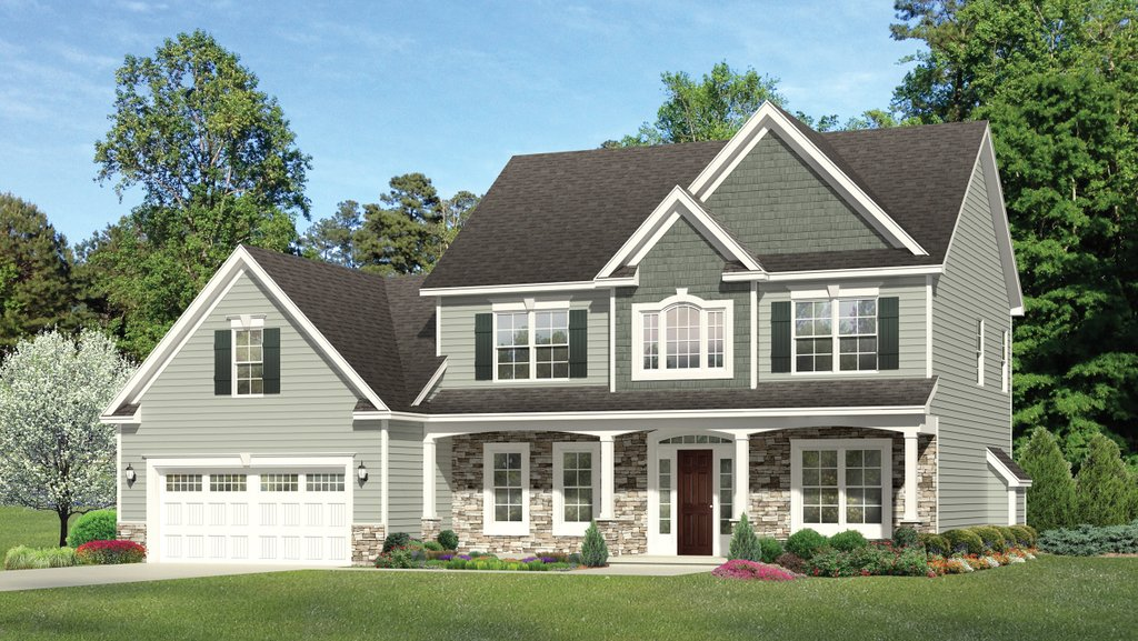 Colonial Exterior Front Elevation Plan 1010 126