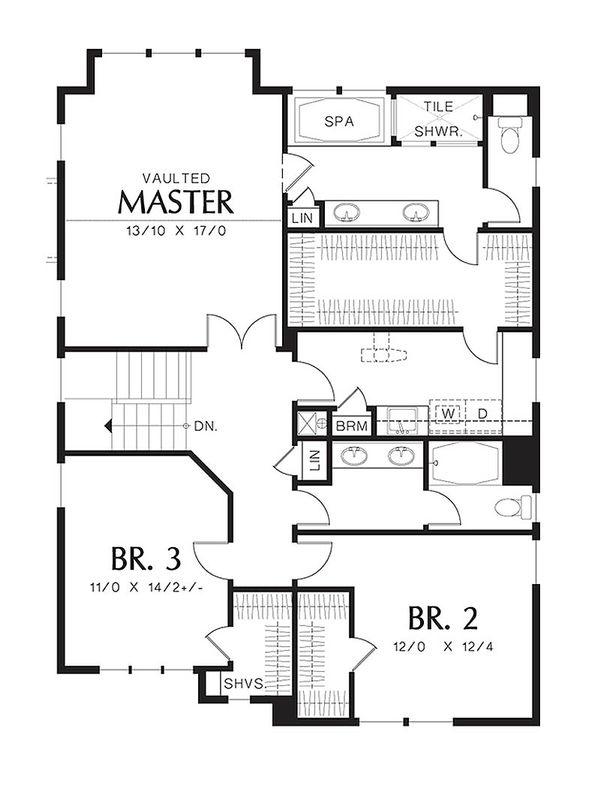 Traditional Floor Plan - Upper Floor Plan Plan #48-501