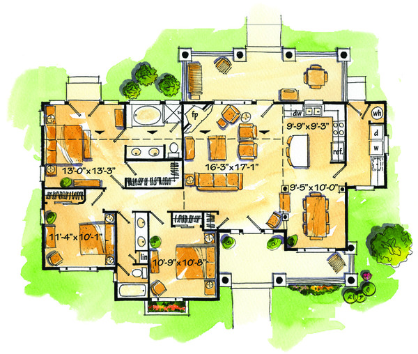 Country Floor Plan - Main Floor Plan Plan #942-27