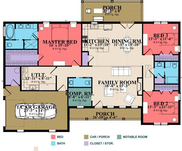 Ranch Floor Plan - Main Floor Plan Plan #63-384