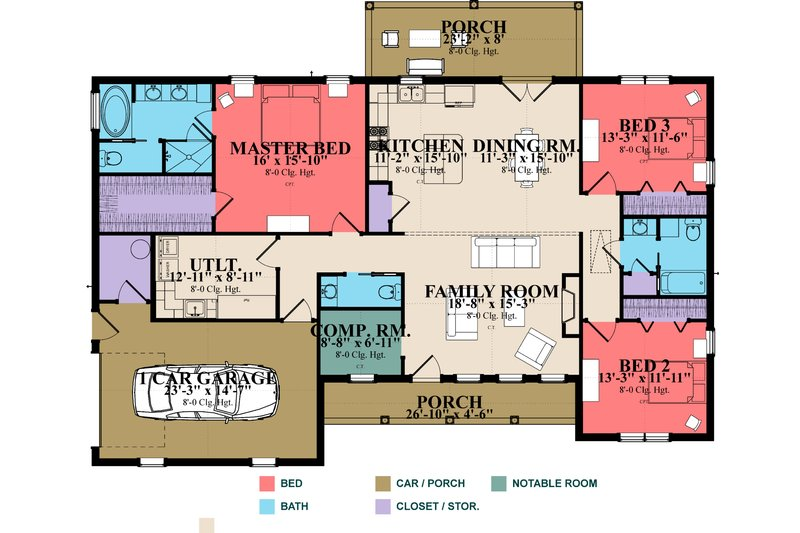 Ranch Style House Plan - 3 Beds 2 Baths 2042 Sq/Ft Plan #63-384