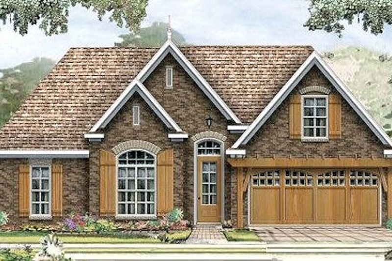 European Style House Plan - 3 Beds 2 Baths 1519 Sq/Ft Plan #424-178 Exterior - Front Elevation