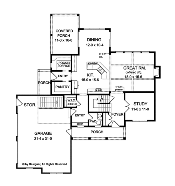 Traditional Floor Plan - Main Floor Plan Plan #1010-136