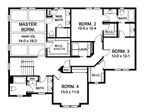 Colonial Floor Plan - Upper Floor Plan Plan #1010-166