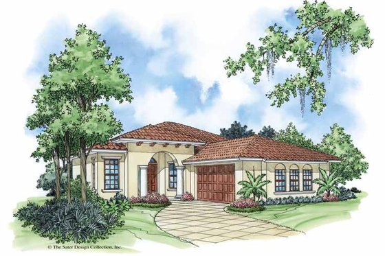 Mediterranean Exterior - Front Elevation Plan #930-378