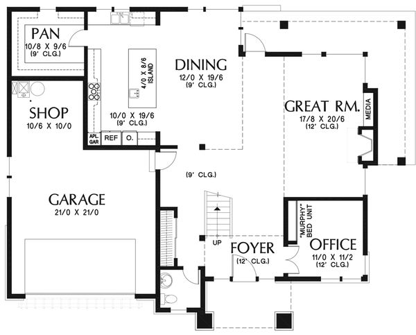 Modern Floor Plan - Main Floor Plan #48-938