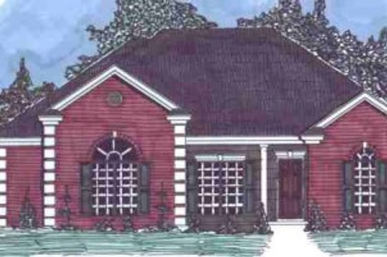 Mediterranean Exterior - Front Elevation Plan #69-135