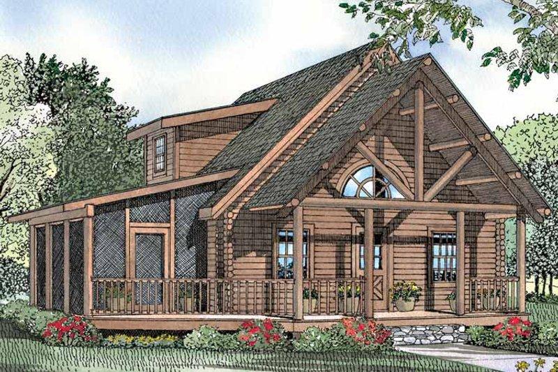 Log Exterior - Front Elevation Plan #17-3029 - Houseplans.com