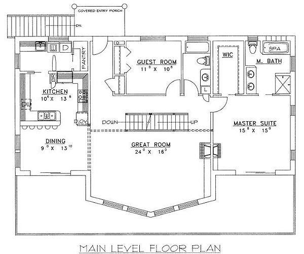 Bungalow Floor Plan - Main Floor Plan Plan #117-511