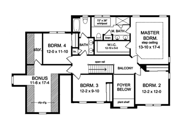 Traditional Floor Plan - Upper Floor Plan Plan #1010-129
