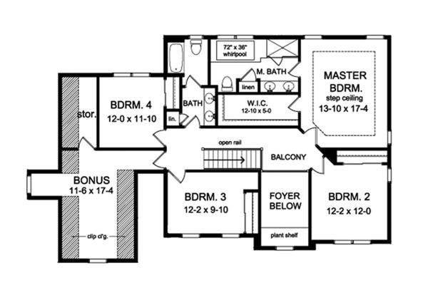 House Plan Design - Traditional Floor Plan - Upper Floor Plan #1010-129