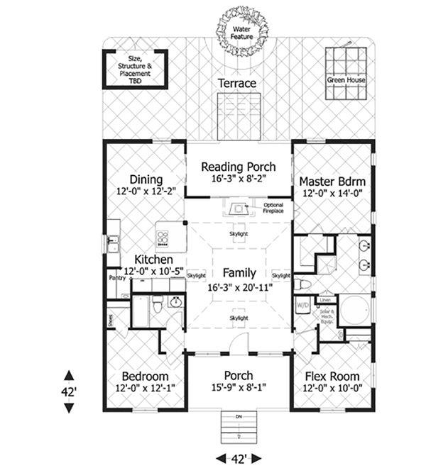 Bungalow Style House Plan - 3 Beds 2 Baths 1488 Sq/Ft Plan #56-619 Floor Plan - Main Floor Plan