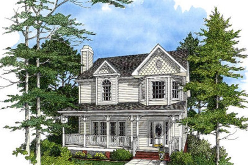 Architectural House Design - Victorian Exterior - Front Elevation Plan #56-150
