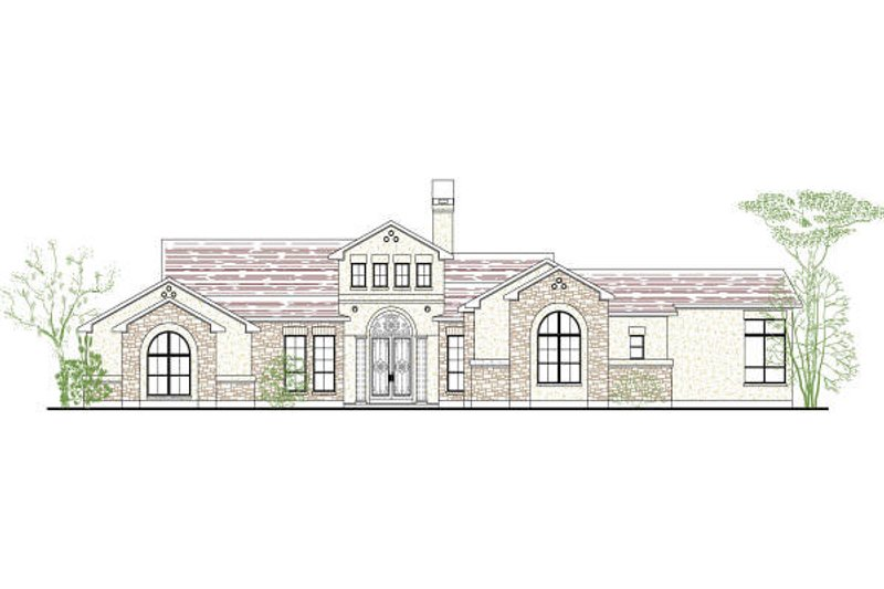 Mediterranean Style House Plan - 4 Beds 3 Baths 3229 Sq/Ft Plan #80-189 Exterior - Front Elevation