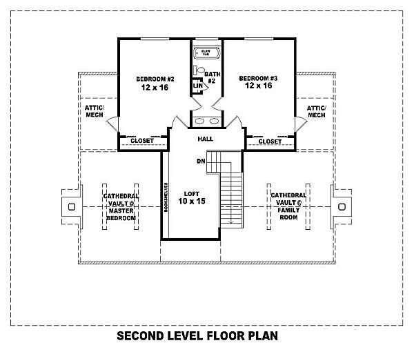 Country Floor Plan - Upper Floor Plan #81-101