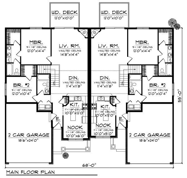 Traditional Floor Plan - Main Floor Plan Plan #70-892