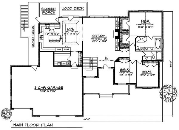 Ranch Floor Plan - Main Floor Plan Plan #70-334