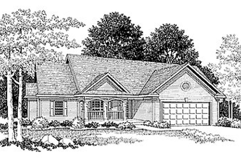 Traditional Style House Plan - 3 Beds 2 Baths 1806 Sq/Ft Plan #70-210 Exterior - Front Elevation