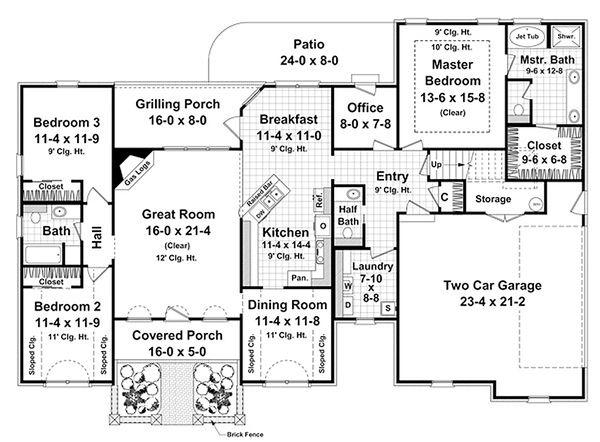 Dream House Plan - Ranch Floor Plan - Main Floor Plan #21-240