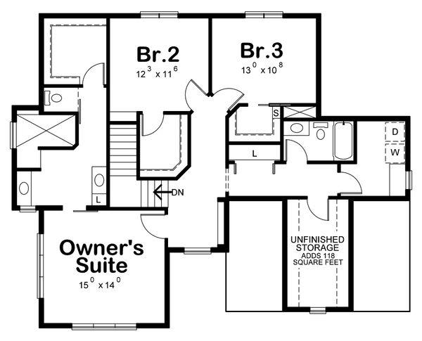 Traditional Floor Plan - Upper Floor Plan Plan #20-2273