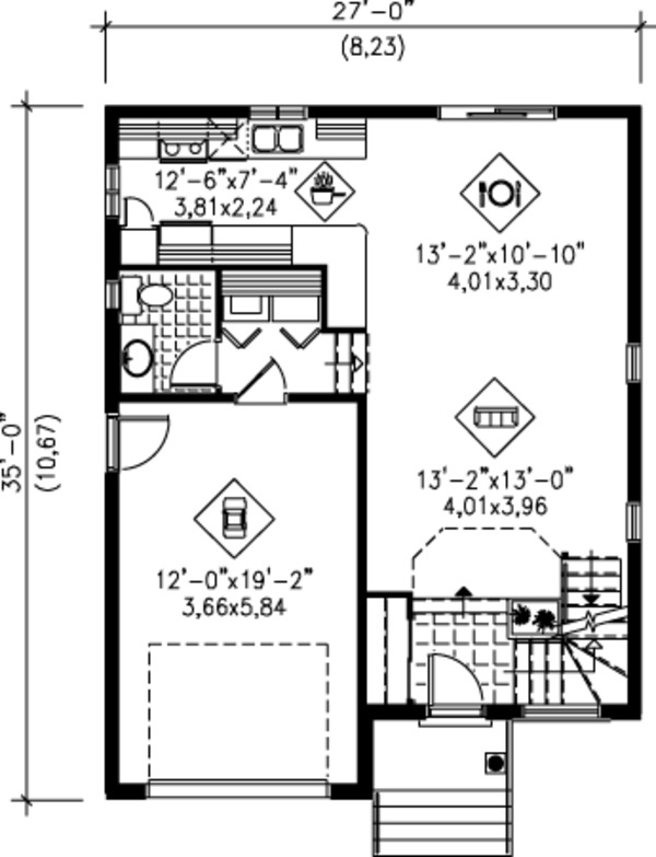 Modern Floor Plan - Main Floor Plan Plan #25-4230