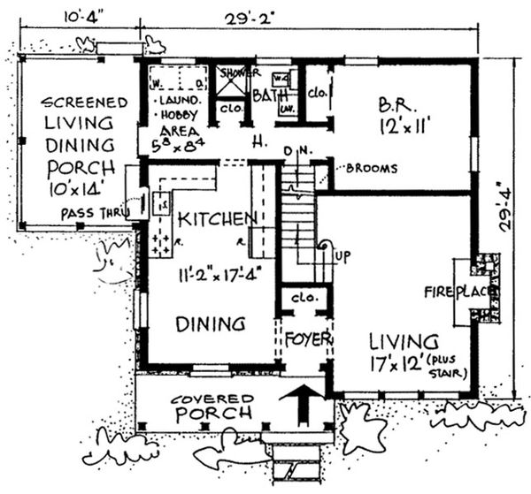 Country Floor Plan - Main Floor Plan Plan #315-102