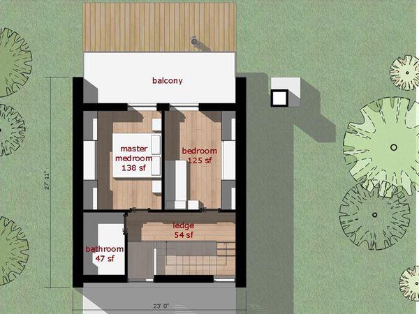 Modern Floor Plan - Upper Floor Plan Plan #473-3