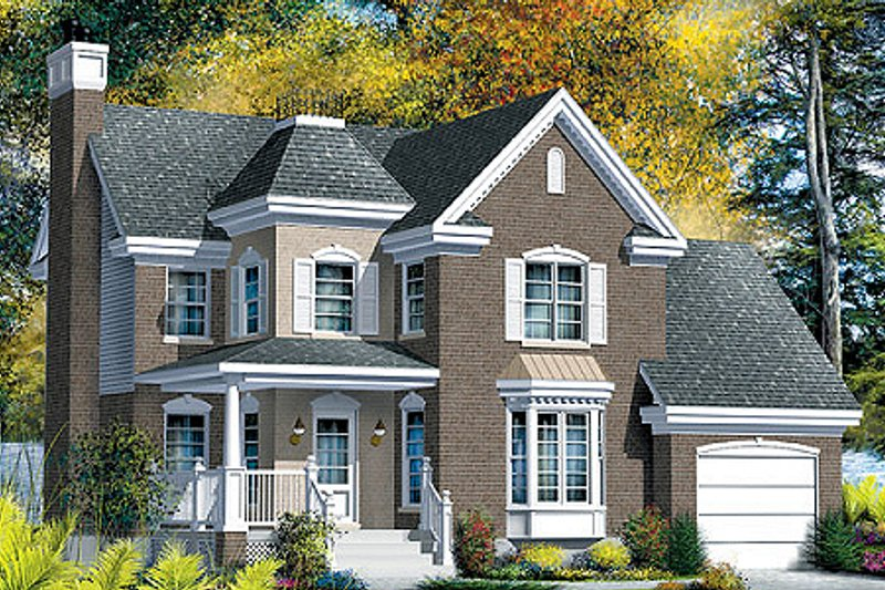 European Style House Plan - 3 Beds 1.5 Baths 1653 Sq/Ft Plan #25-4156