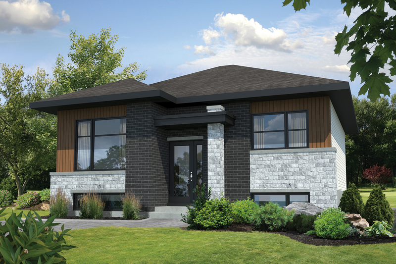 Contemporary Style House Plan - 2 Beds 1 Baths 892 Sq/Ft Plan #25-4405 Exterior - Front Elevation