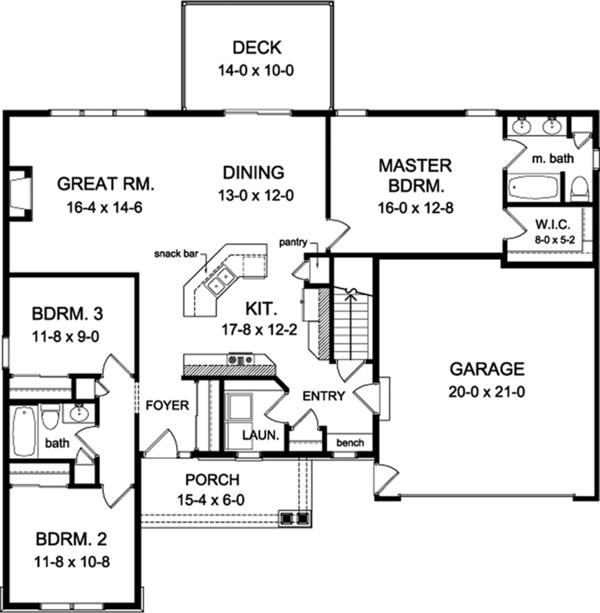 House Plan Design - Ranch Floor Plan - Main Floor Plan #1010-137