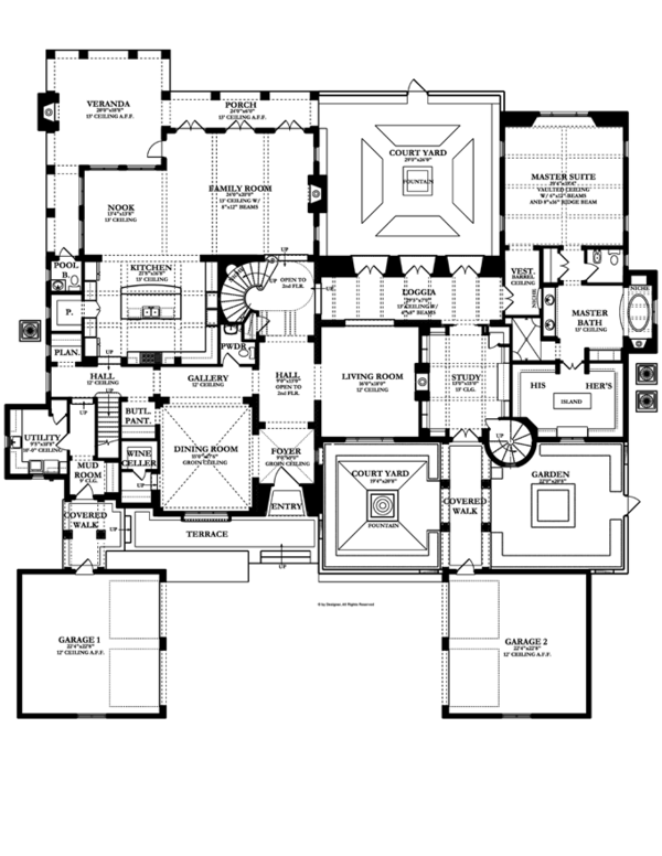 Mediterranean Floor Plan - Main Floor Plan Plan #1058-19
