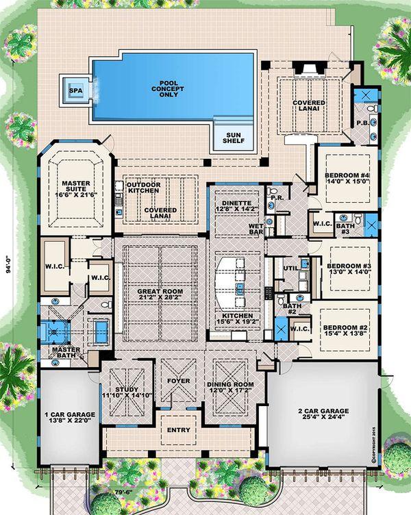 Contemporary Floor Plan - Main Floor Plan Plan #27-565