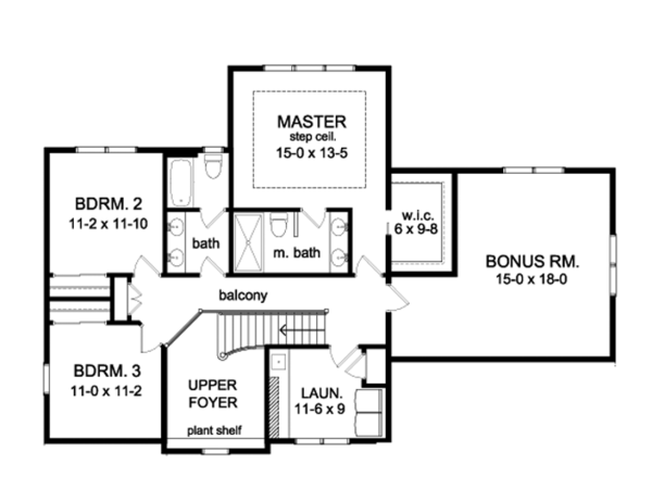 Colonial Floor Plan - Upper Floor Plan Plan #1010-86