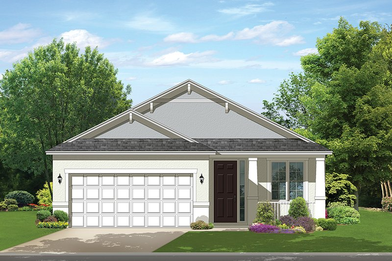Ranch Style House Plan - 2 Beds 2 Baths 1256 Sq/Ft Plan #1058-100 Exterior - Front Elevation