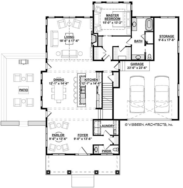Traditional Style House Plan - 3 Beds 2.5 Baths 2725 Sq/Ft Plan #928-288 Floor Plan - Main Floor Plan