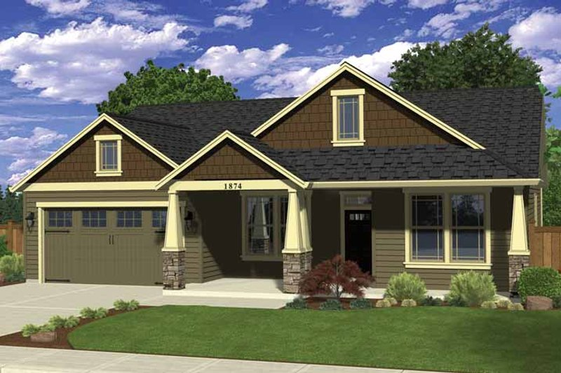 Ranch Style House Plan - 4 Beds 2 Baths 1874 Sq/Ft Plan #943-32 Exterior - Front Elevation