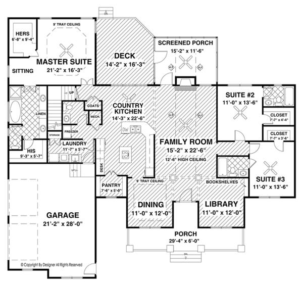 Ranch Floor Plan - Main Floor Plan Plan #56-696
