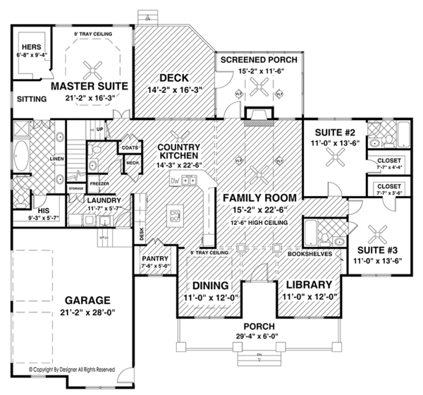 Ranch Floor Plan - Main Floor Plan Plan #56-696