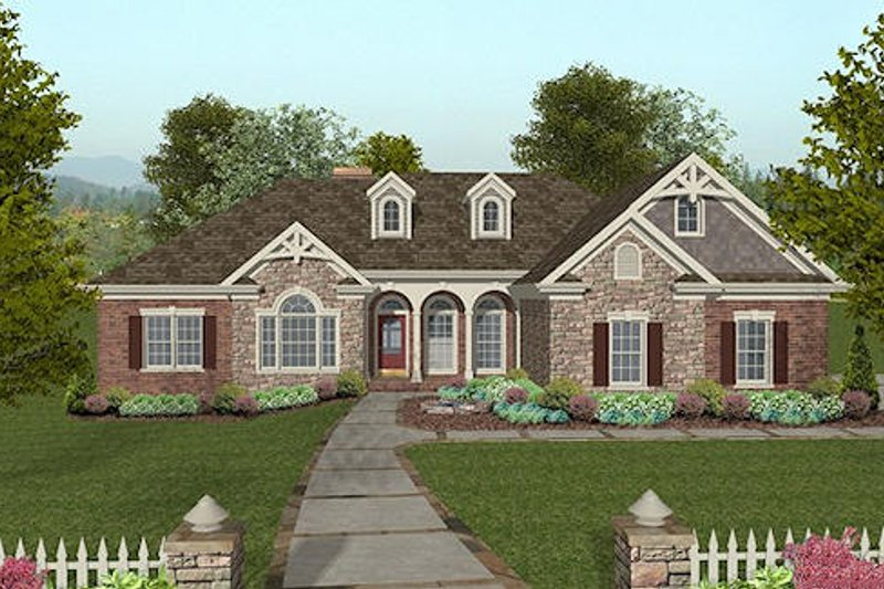 Craftsman Style House Plan - 4 Beds 2.5 Baths 2000 Sq/Ft Plan #56-576 Exterior - Front Elevation