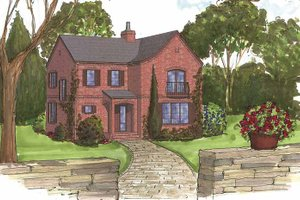 Tudor Exterior - Front Elevation Plan #1042-10