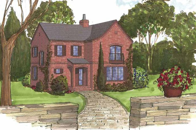 Traditional Style House Plan - 3 Beds 2.5 Baths 2250 Sq/Ft Plan #1042-10 Exterior - Front Elevation