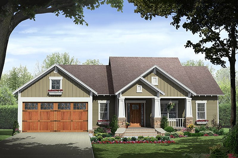 Craftsman Style House Plan - 3 Beds 2 Baths 1627 Sq/Ft Plan #21-364