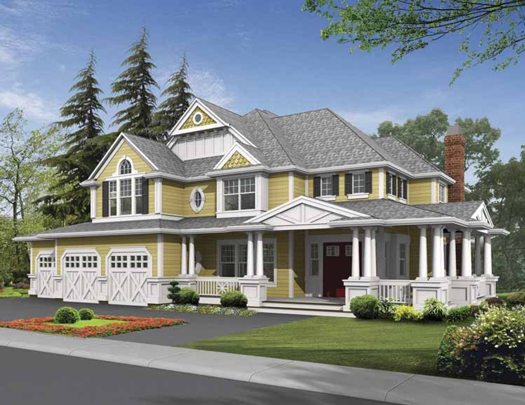 Country style house plan 4 beds 3 5 baths 4430 sq ft for Country craftsman