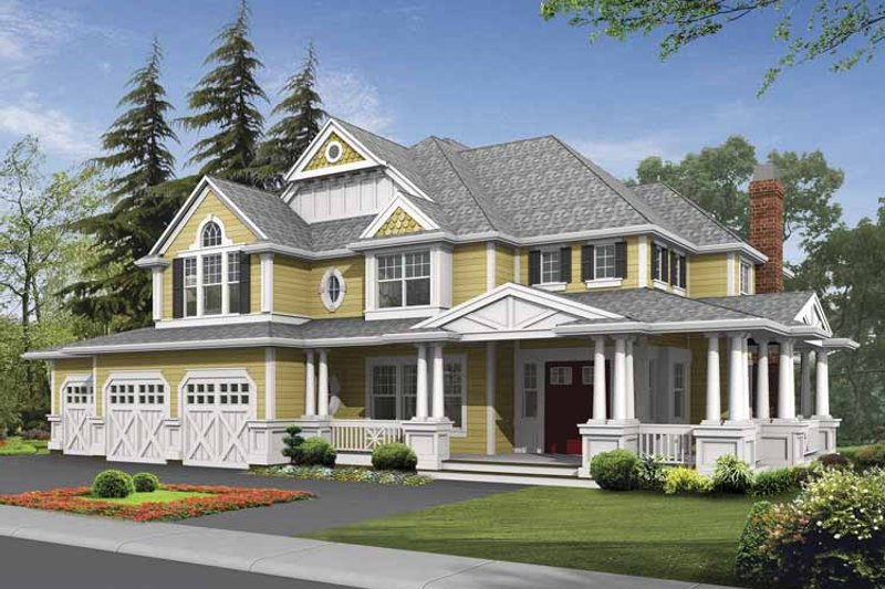 Country Exterior - Front Elevation Plan #132-492 - Houseplans.com