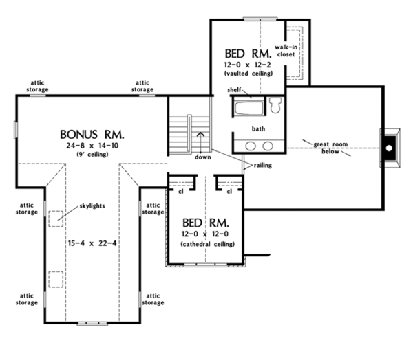 European Floor Plan - Upper Floor Plan Plan #929-907