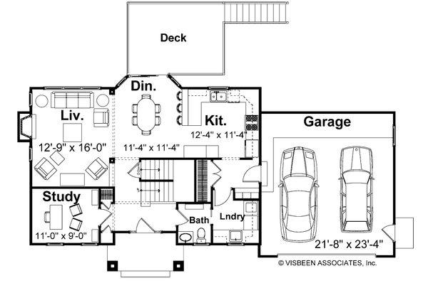 House Plan Design - Farmhouse Floor Plan - Main Floor Plan #928-6