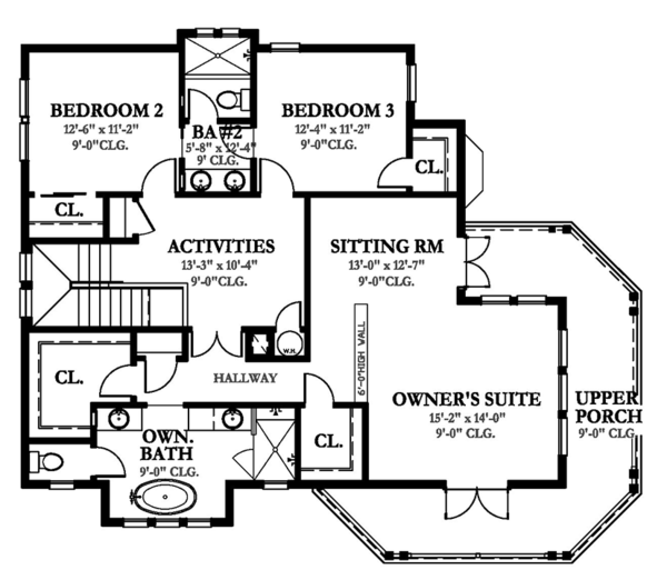 Country Floor Plan - Upper Floor Plan Plan #1058-149
